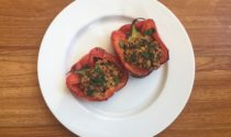 Capsicums stuffed with rice, quinoa and lentil salad